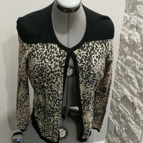 Button up cardigan leopard print